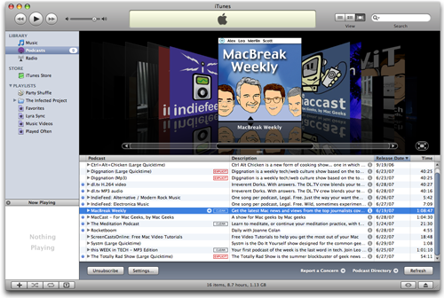 iTunes Podcast Coverflow 7.3
